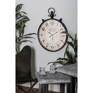 Benzara Black/White Metal Distressed Wall Clock