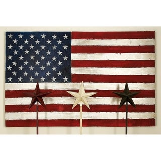 Benzara Canvas Fabric American Flag Art