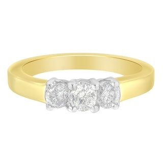 14k Yellow Gold 1/2ct TDW Round-cut Three-Stone Diamond RING