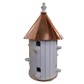 Extra Large 10 Hole Bird House with Polished Copper Roof
