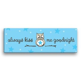 'Always Kiss Me Goodnight' Blue Canvas 18-inch Gallery Wrapped Print