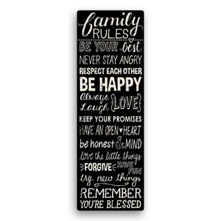 Family Rules Black Canvas 27-inch Wall Art