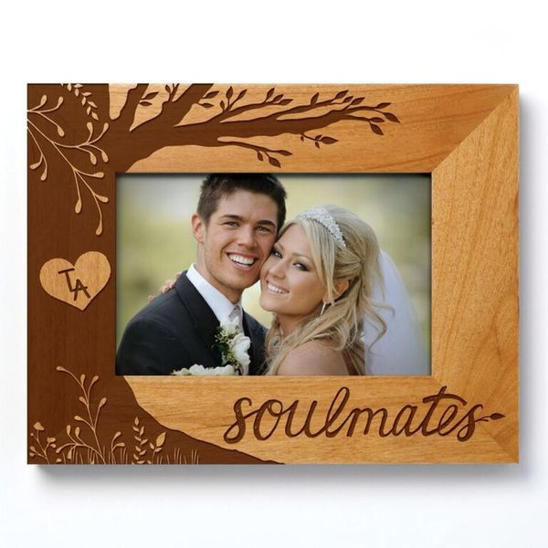 Brown Wood Soulmates Picture Frame