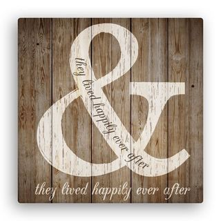 'They Lived Happily Ever After' Brown Canvas Wall Art