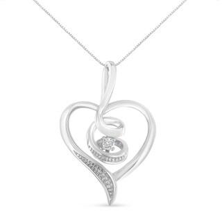 Espira 10K White Gold .03 ct TDW Round-Cut Diamond Swirl Heart Pendant Necklace (I-J, I2-I3)