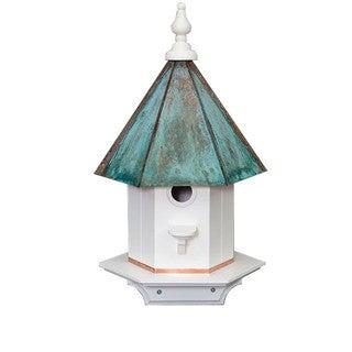Single Hole Vinyl Bird House With Copper Patina