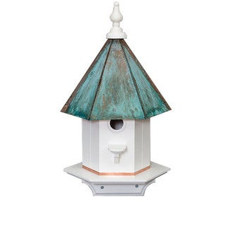 Single Hole Vinyl Bird House with Copper Patina