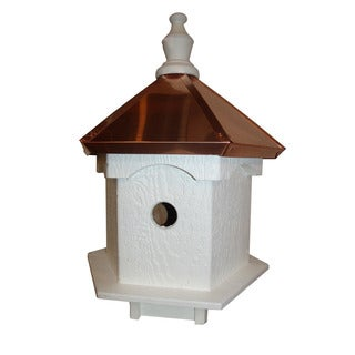 Double Sided 2 Hole Bird House with Polished Copper Roof