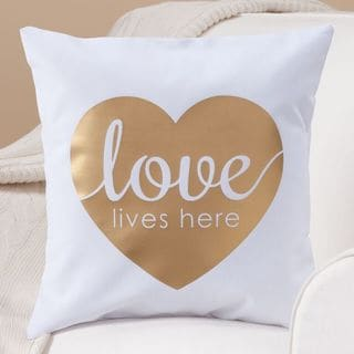 White and Gold Polyester and Cotton 14-inch 'Love Lives Here' Throw Pillow