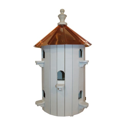 10 Hole Bird House with Polished Copper Roof