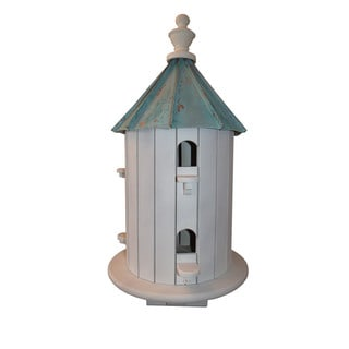 6 Hole Finch Bird House with Patina Copper Roof