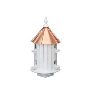 6 Hole Finch Bird House with Polished Copper Roof