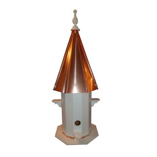 4 Hole Vinyl Bird House with Polished Copper Roof