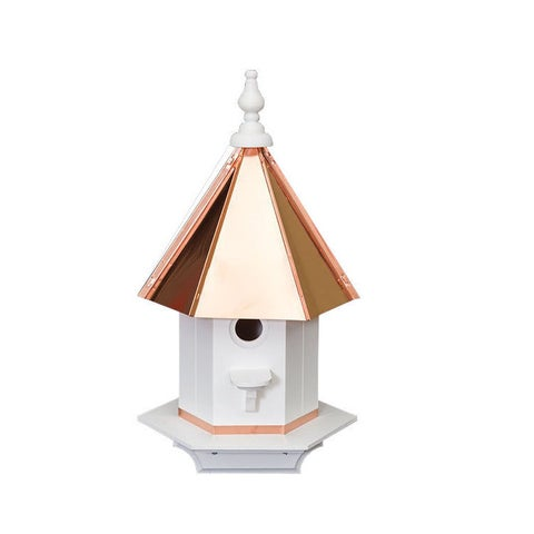 Single Hole Vinyl Bird House with Polished Copper Top