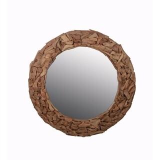 Privlege Round Wooden Mirror