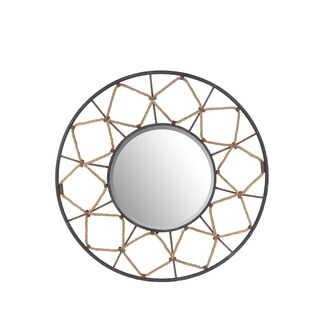 Privilege Gold/Black Beveled Glass and Metal Round Wall Mirror