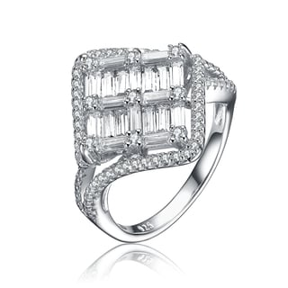 Collette Z Sterling Silver Cubic Zirconia Fashionista Ring Size 6