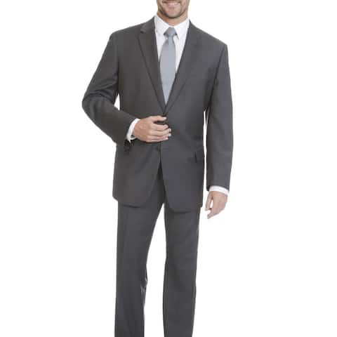 Lazetti Couture Men's Portly Grey Wool and Polyester Performance Stretch 2-piece Suit
