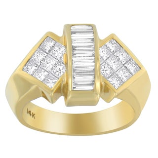 14k Yellow Gold 2 1/4ct TDW Princess and Baguette-cut Diamond Ring
