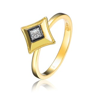 Collette Z Gold Overlay Cubic Zirconia Square Accent Ring Size 6