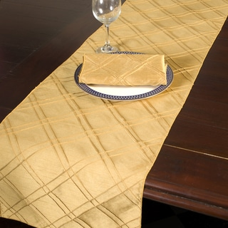 Howard Elliott Collection Gold Polyester Pintuck Table Runner