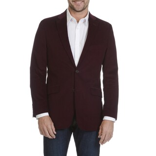 Circola Moda Men's Burgundy Cotton and Polyester Corduroy Elbow Patch Sport Coat