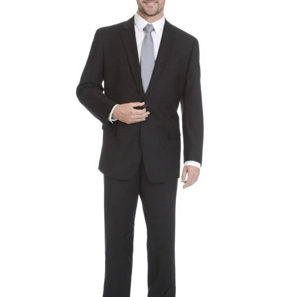 Lazetti Couture Men's Black Wool Blend Performance Stretch 2-piece Suit