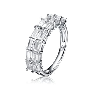 Collette Z Sterling Silver Cubic Zirconia Emerald-Cut Band Size 6.