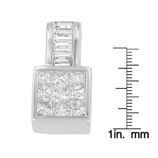 14K White Gold 1 1 2 Ct TDW Princess And Baguette Cut Diamond Square Halo Pendant Necklace H I SI1 SI2