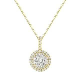 Auriya 14k Gold 2 3/5ct TDW Round Cut Diamond Double Halo Necklace (J-K, SI2-SI3)