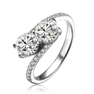 Collette Z Sterling Silver with Rhodium Plated Two Clear Round Cubic Zirconias with Clear Cubic Zirconias Pave Twisted Ring