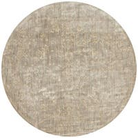 Lucca Floral Stone/ Ivory Round Rug - 9'6 x 9'6