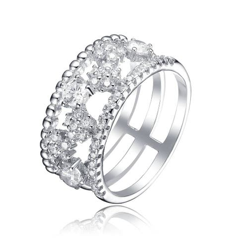 Collette Z Sterling Silver Cubic Zirconia Open Band Ring - White