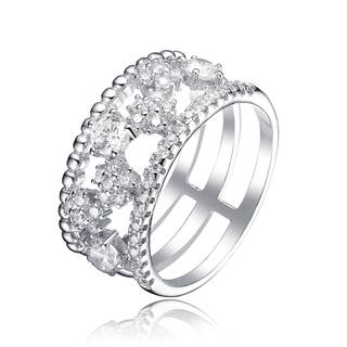 Collette Z Sterling Silver Cubic Zirconia Open Band Ring Size 6
