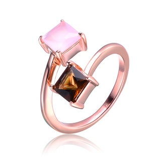 Collette Z Rose Gold Overlay Cubic Zirconia Open Ring Size 6