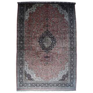 """Hand-Knotted Mansion Size Silk Qum Carpet (17'x27'5"""")