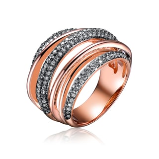 Collette Z Rose Gold Overlay Cubic Zirconia Weave Ring Size 6
