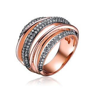 Collette Z Rose Gold Overlay Cubic Zirconia Weave Ring - White