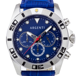 Argenti Talis Men's Sport Chronograph Watch, Mother of Pearl Dial, Leather Strap