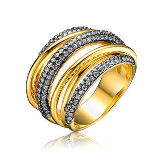 Collette Z Gold Overlay Cubic Zirconia Weave Ring - White