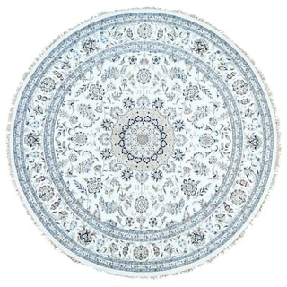 Hand-Knotted Wool and Silk Nain 300 Kpsi Round Rug (10'x10')