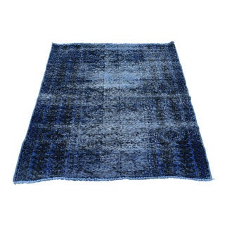 1800GetaRug Persian Tabriz Blue Wool Overdyed Hand-knotted Rug (2'8x3'10)
