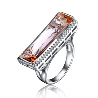 Collette Z Sterling Silver Champagne Cubic Zirconia Statement Ring - Orange