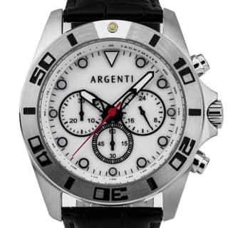 Argenti Talis Men's Sport Chronograph Watch, Mother of Pearl Dial, Leather Strap|https://ak1.ostkcdn.com/images/products/13454273/P20143568.jpg?impolicy=medium
