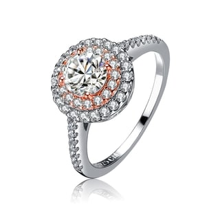 Collette Z Rose and Sterling Silver Cubic Zirconia Round Ring.