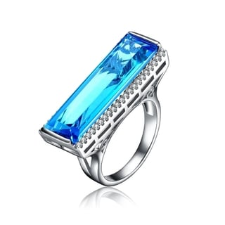 Collette Z Sterling Silver Blue Topaz Cubic Zirconia Statement Ring Size 6