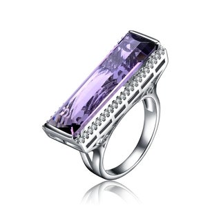 Collette Z Sterling Silver Purple Cubic Zirconia Statement Ring Size 6