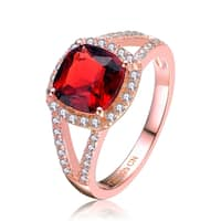 Collette Z Rose Gold Overlay Red Cubic Zirconia Statement Ring