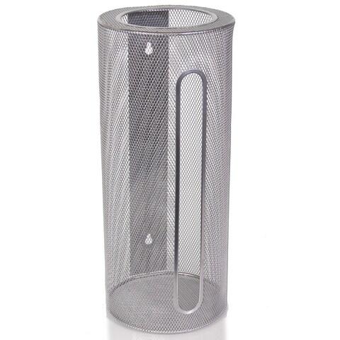 Ybm Home Wall Mount Cylinder Silver Mesh Grocery Bag Saver