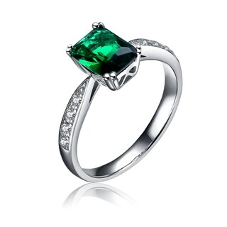 Collette Z Sterling Silver Green Cubic Zirconia Rectangle Ring